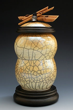 Golden Raku Pottery by MH Rowland